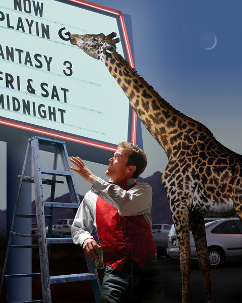 A theater worker lets a giraffe do all the hard work of putting letters up on the marquee while he relaxes.