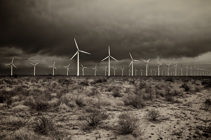 Dark Clouds over King Mountain Wind Farm - Upton County, Texas, USA