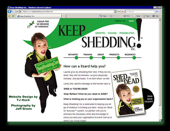"""Learn more about <a href=""""http://www.keepshedding.com"""" target=""""_blank"""">""""The Lizard Lady,"""" Kathy Dempsey</a>, and her inspiring advice for growth and change at <a href=""""http://www.keepshedding.com"""" target=""""_blank"""">keepshedding.com</a>. Kathy surprised me with the fact that she published a nationally recognized book with the photo I took of her!"""
