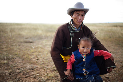 Ulaanbaatar and his Son in Mongolia