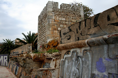 Moorish tower and graffiti - Old City (Cidade Velha), Faro