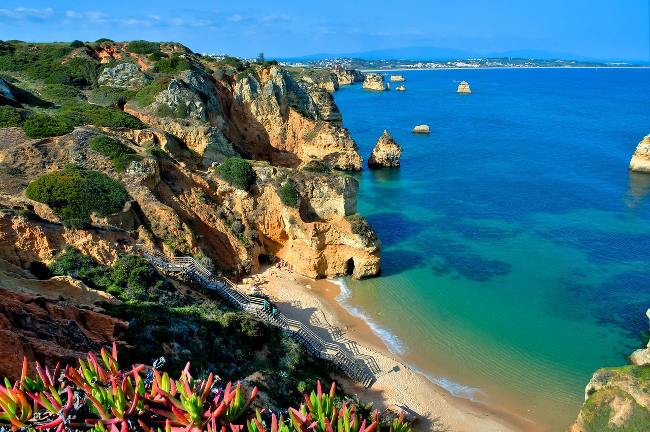 SANDY BEACH, CLIFFS AND CAVES, LAGOS, PORTUGAL