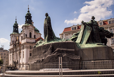 Old Square - Jan Hus Memorial, St. Nicholas Church