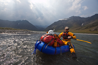 KONGAKUT RIVER, ALASKA  - Cameron L. Martindell on an Alpacka packraft during a 15-day, 80-mile arctic river trip from the Brooks mountain range to the Arctic Ocean. Full story at: http://offyonder.com/2010/06/arctic-rafting/ || Photo credit: Nathaniel Wilder/nathanielwilder.com