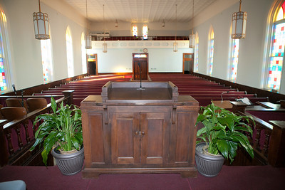 A view from behind the pulpit Pastor King spoke his sermons from. His view of the believers.
