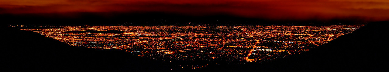 "A view over San Jose and maybe some other surrounding cities from Sierra Rd. Took this pano last December during the lunar eclipse. There was a little ""downtime"" during the eclipse when I wasn't shooting photos of the moon, so I shot this pano in the meantime."