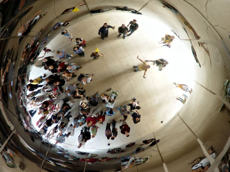"It's the ""belly button"" of the Cloud Gate! :D"