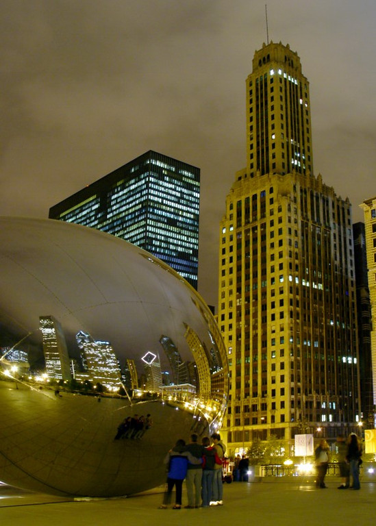 Finally was able to take some night shots of the Cloud Gate.  Unfortunately, I had some lighting issues (all of the pics are kind of yellow) that I couldn't fully resolve in post.  Hope to post more night shots (better ones) later!