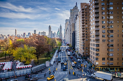 A view looking East down Central Park South from the Discovering Columbus Public Art Fund exhibit at Columbus Circle.