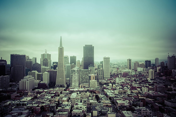 A view from Coit Tower towards downtown San Francisco.