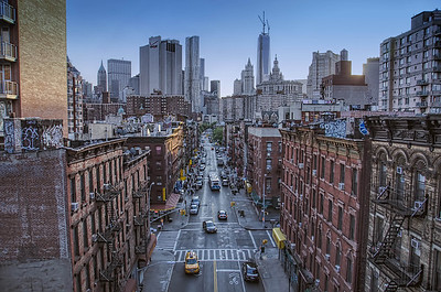 A view from the Manhattan Bridge looking South towards Lower Manhattan.