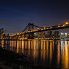 Night view of Manhattan Bridge from Brooklyn Bridge Park