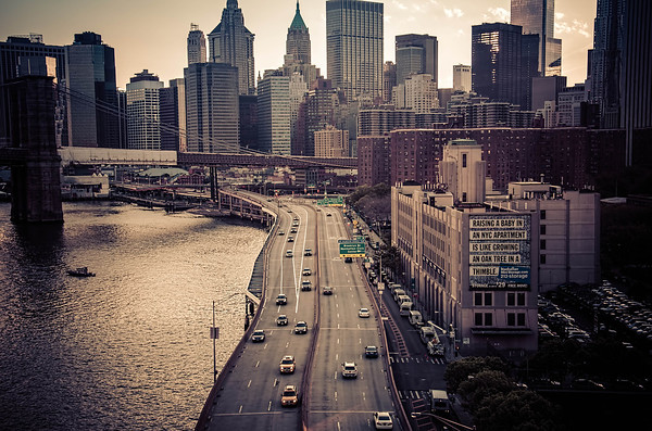 Looking South towards Lower Manhattan from the Manhattan Bridge.