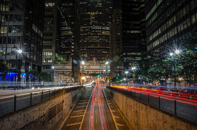 Park Ave Long Exposure looking towards Grand Central Terminal.