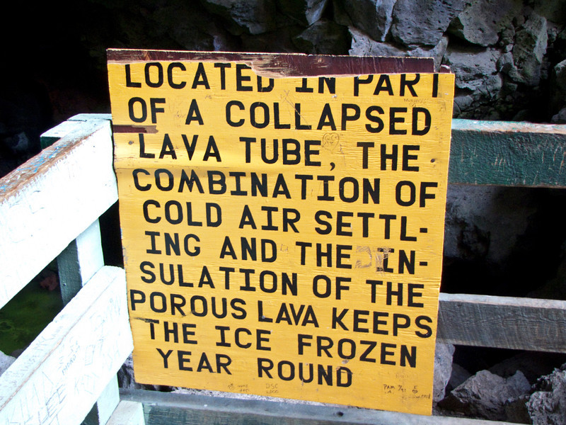 Nobody, North America, USA, New Mexico, Ice Cave and Bandera Volcano, Informational Sign at Entrance to Ice Cave
