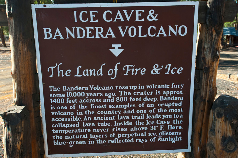 Nobody, North America, USA, New Mexico, Ice Cave and Bandera Volcano, Informational Sign