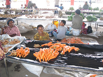 Mother and Selling Produce in Native Market