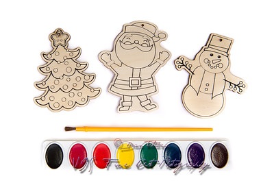Christmas Wood Cutouts Coloring Kit