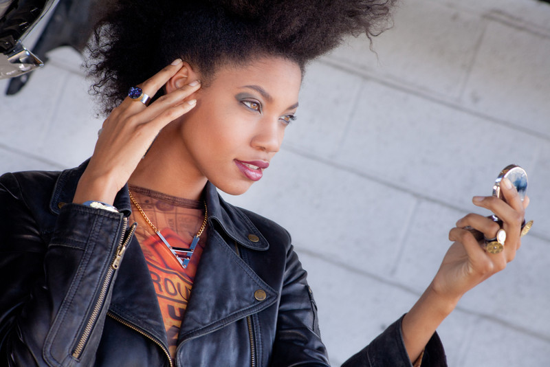 """Look book for <a href=""""http://minabea.com/product-category/crash/"""">http://minabea.com/product-category/crash/</a><br /> <br /> Crash by Minabea - Eco-friendly jewelry made from luxury cars<br /> Designer: Christi Schimpke<br /> Photograph: Jasmine Lord<br /> Make Up: Marlene Aguirre<br /> Hair: Roe Mattar & Tobi Lyons<br /> Stylist: April Alexander<br /> Assistant: Reuben Reynoso<br /> Model: Joy Green"""