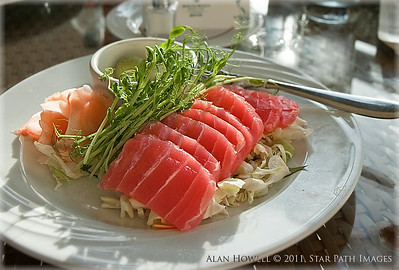 Fresh tuna with ginger and cabbage, with wasabi. WASABI!!!!  Fresh from the Wailea Beach Marriot room service..mmmm mmm!  Alan Howell © 2011, Star Path Images