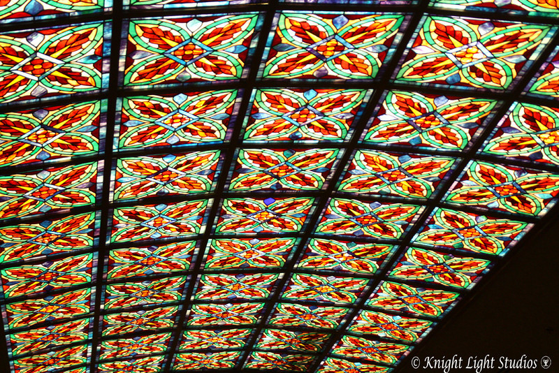 Day 58 - Stained Glass ceiling.   It amazes me, how now when walking through places, I pay far more attention to colors and patterns than I ever did before.  (Buffet at the Orleans)
