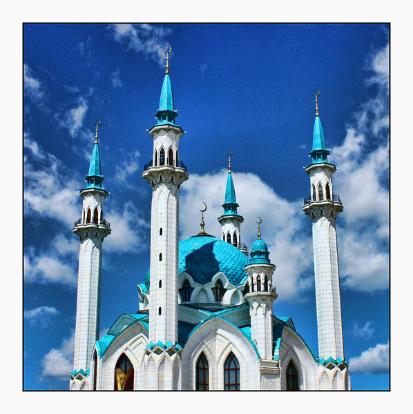 Qol Sherif Mosque inside the Kazan Kremlin. (Original color version) (6.12.2012)<br /> <br /> The original mosque was built in 1552. This mosque was completed in 2005 to commemorate the city's millennium anniversary. (Republic of Tatarstan, Russia)