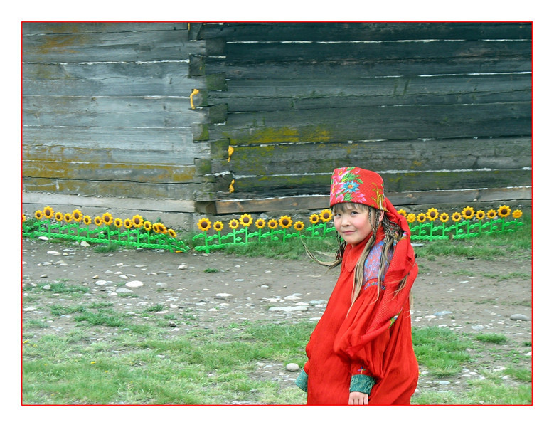 Girl in red with sunflowers. (6.10.2011)