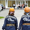 Working girls.<br /> <br /> Heading in to work at the Sayano Shushenskaya hydroelectric power plant. (Khakassia, Russia) (Саяно Шушенская гидроэлектростанция имени П. С. Непороожнего)