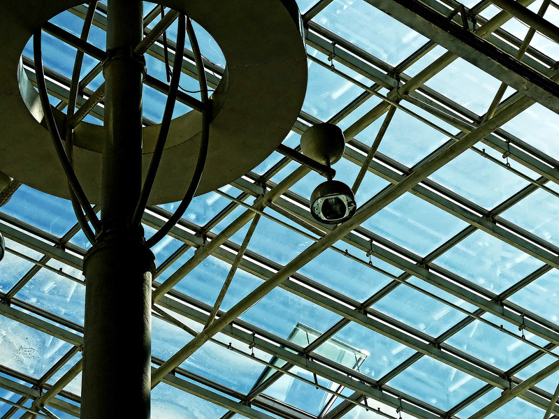 Skylight & camera. (Mega Mall, Moscow) (7.1.2012)<br /> <br /> Swedish retailer, Ikea, built the 1st mall in Russia in 2002 known as Mega Mall, one of the largest malls in Europe. There were lines waiting to get in & their initial inventory was wiped out, if you can believe it. There are now three Megas in Moscow alone & everyday looks like holiday shopping in the States. The anchors are always the same: Ikea, German DIY chain OBI, Finnish department store Stockmann (tiny by our dept. store standards) & French supermarket chain Auchan. Auchan is known for their cheap prices, but after a couple of visits I swore never again as the wait at the cash registers can take from 30 minutes to 1.5 hrs. and that's with 40 functioning registers!<br /> <br /> Sure wish they'd get some American chains or dept. stores, though on this visit I saw an announcement that Banana Republic will soon be opening. Shopping in Moscow isn't easy or fun & I usually wait for a trip home where choice & prices are better. Unfortunately, there's something I need so I have to go shopping again today (-:  <br /> <br /> Have a good Sunday!