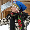 Russian beauty dancing in the snow.