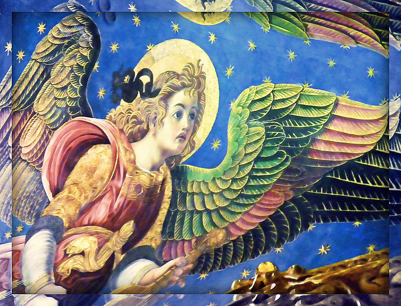 "Renaissance angel on the ceiling of the main chapel in Valencia's Cathedral of the Holy Chalice. The original contract from 1472 required that the angels be, ""painted in exquisite colors"" - they certainly are. This photo makes me think of my sister who died three years ago. She adored angels. (11.6.2011)<br /> <br /> Nothing new, as you can see, but at the encouragement of a few of you, I decided to post this. Thanks for your support. Enjoy your Sunday."