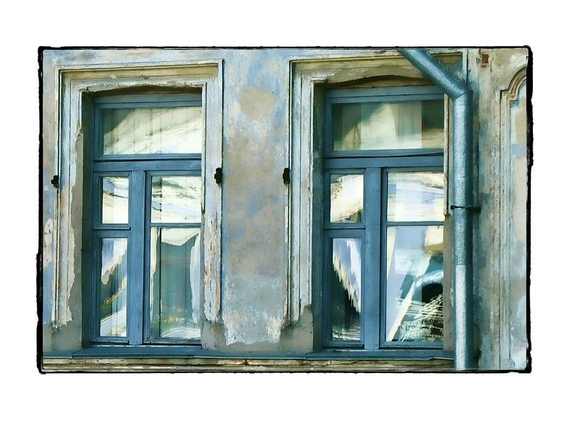 Periwinkle windows & drainpipe. (5.17.2012)
