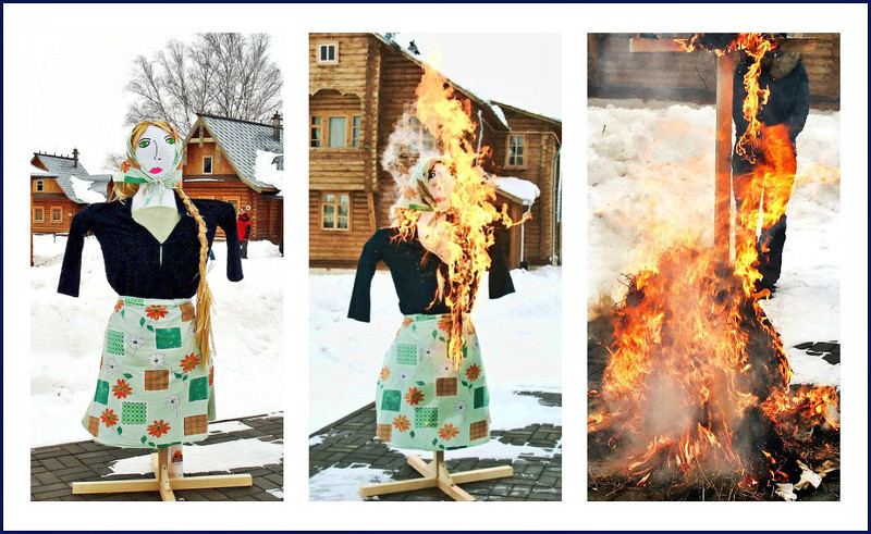 Burning Mother Winter ~ the last day of Maslenitsa. (2.26.2012)<br /> <br /> The past week has been Russian Maslenitsa a.k.a. Pancake Week. The week culminates in the burning of an effigy of winter & is the start of Lent. Funny, it always seems to snow on Maslenitsa & it's by no means the end of winter. The photos aren't new & aren't great as we're somewhat housebound, me post-surgery & Rustem with pneumonia, but thought I'd put this together. We did, however, eat quite a few pancakes :) <br /> <br /> Enjoy your Sunday!