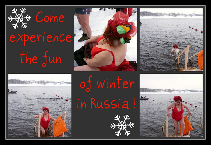 For a chuckle or a shiver, my 1st try at a collage, with scenes from Uglich. None of the individual shots came out very well, but I thought you might find it amusing. This was a balmy day of around -5 Celsius (low 20s Farenheit) so it was a good day to take a plunge. Russians of all ages just love doing this - good for your health, they say - and the people who participate in this activity are known as walruses. She looks a bit like a walrus, doesn't she?<br /> <br /> Thanks for all your comments of yesterday's church. Hope you had an enjoyable Valentine's Day.