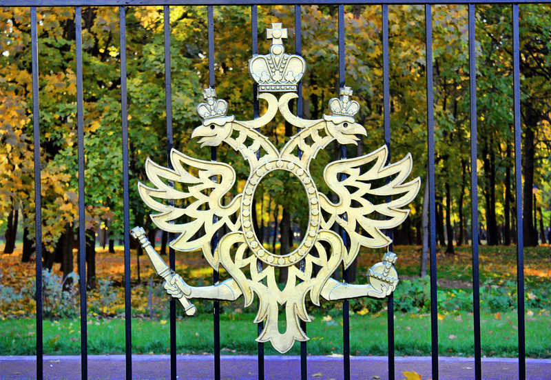Symbol of Tsarist Russia, the double-headed eagle with orb & scepter, on a park fence. Things here tend to be either over the top or way under the radar. (SG)<br /> <br /> Thanks for your comments yesterday. We're enjoying the Daily Community.