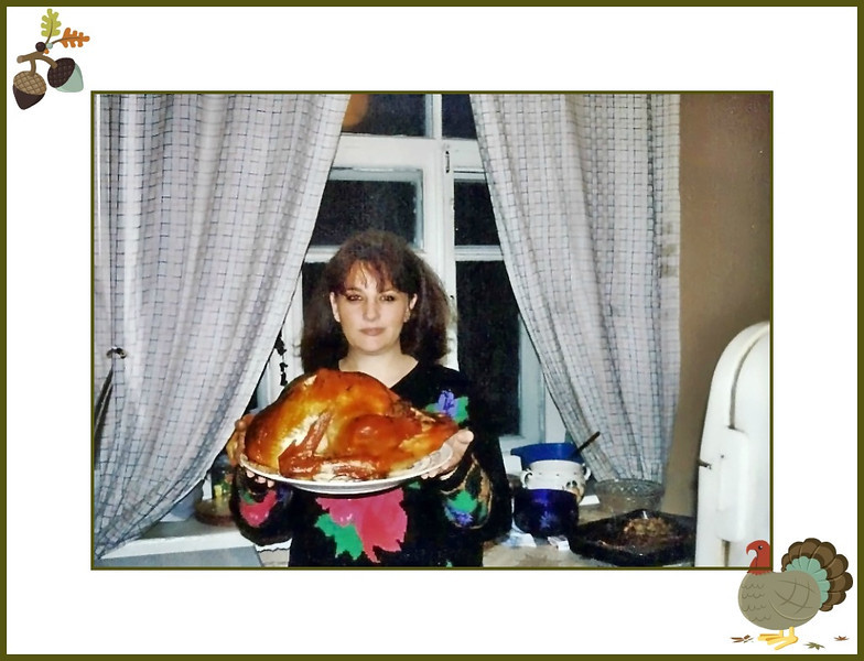 Happy Thanksgiving! (Moscow, 1992)<br /> <br />  I'd just spent my 1st year here & was determined to do a traditional Thanksgiving dinner. The truth is, there was little food in Moscow in those days, but I'd forewarned an Irish supermarket client about the forthcoming holiday & he special ordered some turkeys - it was even a Butterball. This one may look big because it's on a small plate. In fact, it weighed less than 5 kilos (about 11 lbs) & cost $100!<br /> <br /> I've since done Thanksgiving a couple of times here, but it's not quite the same. We always have to move it to Saturday because of work, it's difficult to get the ingredients for all the fixins', & somehow the concept of thankfulness is sorely lacking.