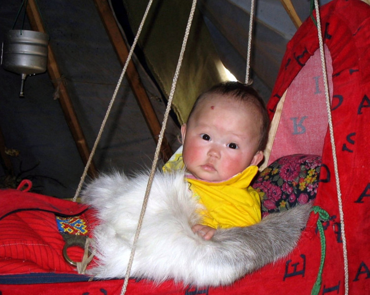 From the files and a fascinating trip to the Nenets Autonomous District in Russia's far north above the Arctic Circle. This Nenets baby is bundled up in her swing inside her nomadic family's tent, known as a chum. The tundra area where they live is accessible only by helicopter, no matter what the season. <br /> <br /> Thanks for your comments on yesterday's shot. <br /> Hope everyone has a good weekend.