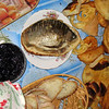 Dinner in a Siberian village - dried fish, caviar, and fried goodies. (Tyumen Oblast)