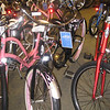 July 16... looking at a new bike at REI. Pink flames are a nice touch! :)