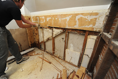Not sure how that diagonal framing helps, but Brian said that he sees it frequently in old houses. Mine was built in 1909, which kinda makes this the 100th birthday bathroom repair.