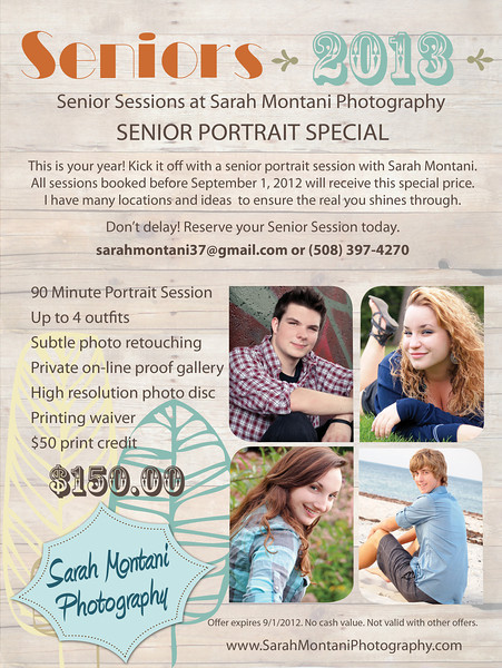 <center><strong>Senior Portrait Special! </strong> <em>- 90 minute portrait session <br> - Up to 4 outfits<br> - Subtle photo retouching <br> - Private on-line proof gallery <br> - High resolution photo disc <br> - Disc of images <br> - $50 print credit <br> For only $150!