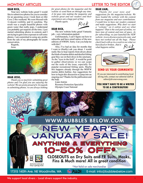 Northwest Dive News - Letter to Editor - January 2011