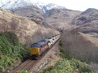 37417 approaches Glenfinnan station on 26/03/08 with a ballast from Fort William - Glenfinnan. Published in West Highland News Summer 2008.
