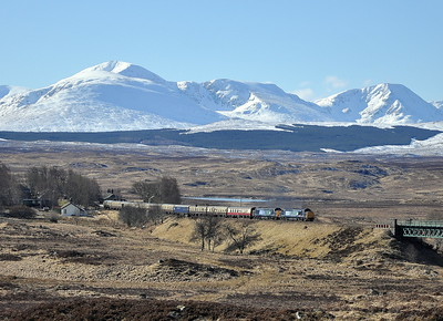 37409 and 37607 depart Rannoch on 30/03/13 with the 'Easter Highlander' to Fort William. Published in Rail Express May 2014 and West Highland News Summer 2013.