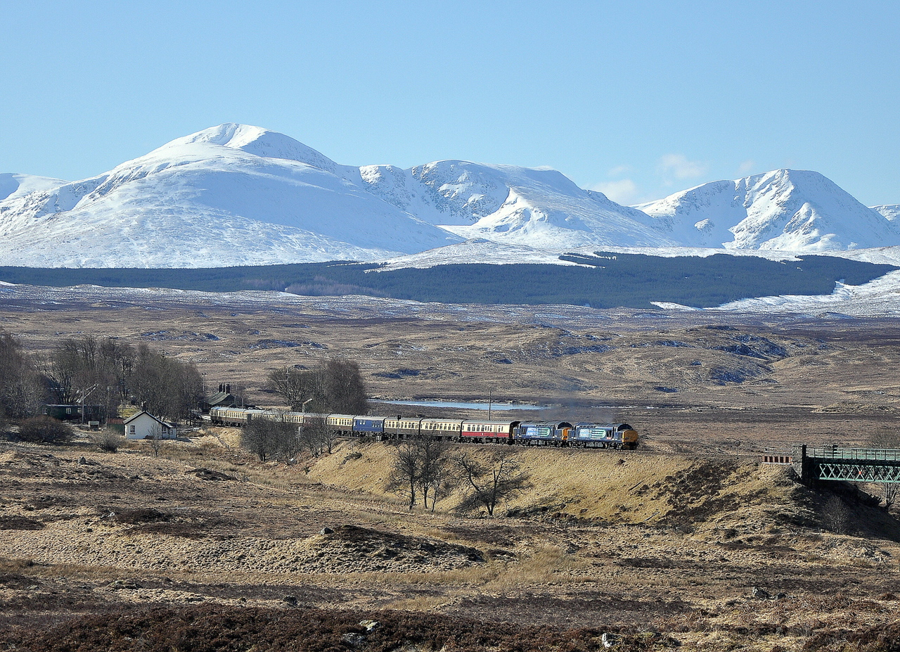 37409 and 37607 depart Rannoch on 30/03/13 with the 'Easter Highlander' to Fort William.<br /> Published in Rail Express May 2014 and West Highland News Summer 2013.