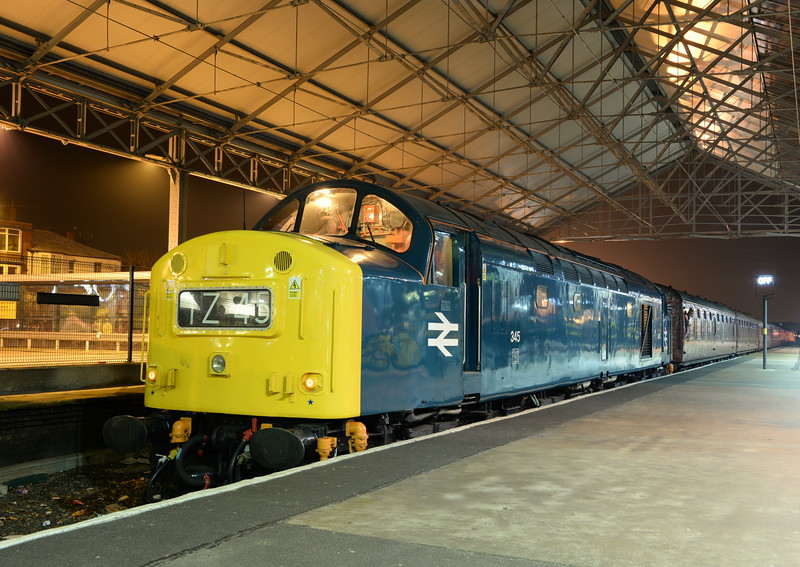 40145 at Southport with the Saltburn - Southport charter on 29/11/14. <br /> Published in Railways Illustrated February 2015.