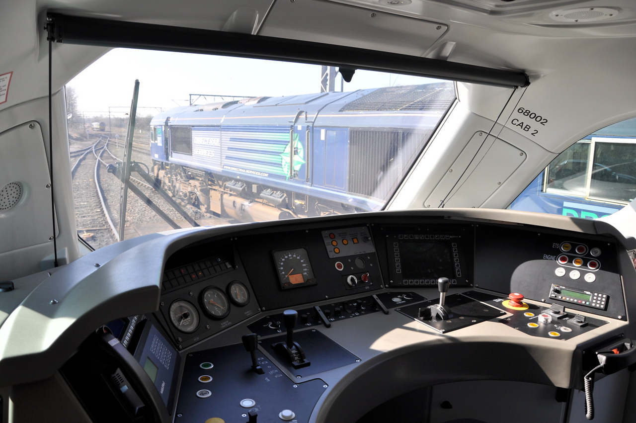 The cab of 68002 on display to the press at Crewe Gresty Bridge on 11/03/14.<br /> Published in Railways Illustrated May 2014.
