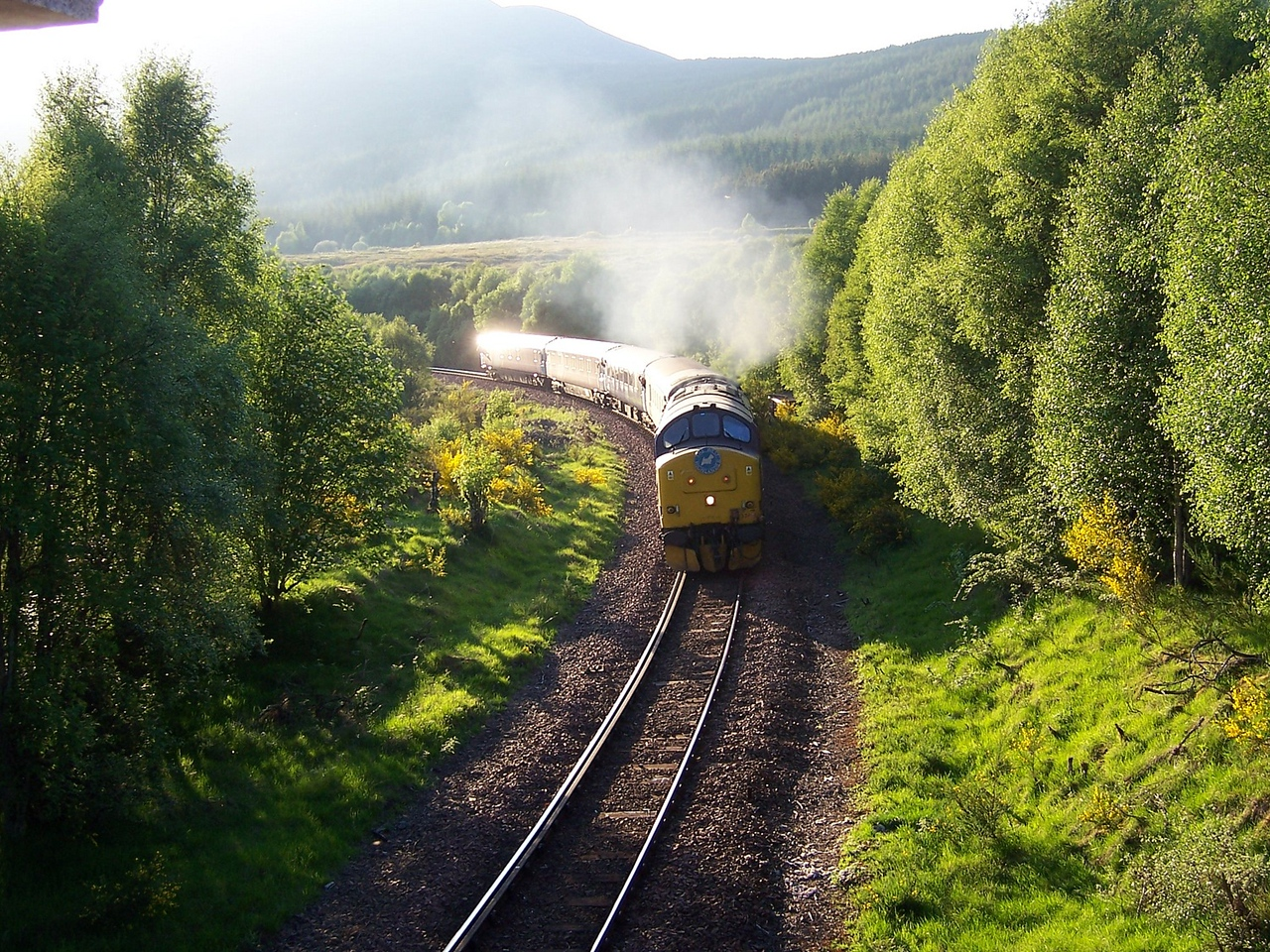 37401 approaches Tulloch with the Fort William - London Caledonian Sleeper on 08/06/06.<br /> Published in The International Railway Traveller Winter 2008.