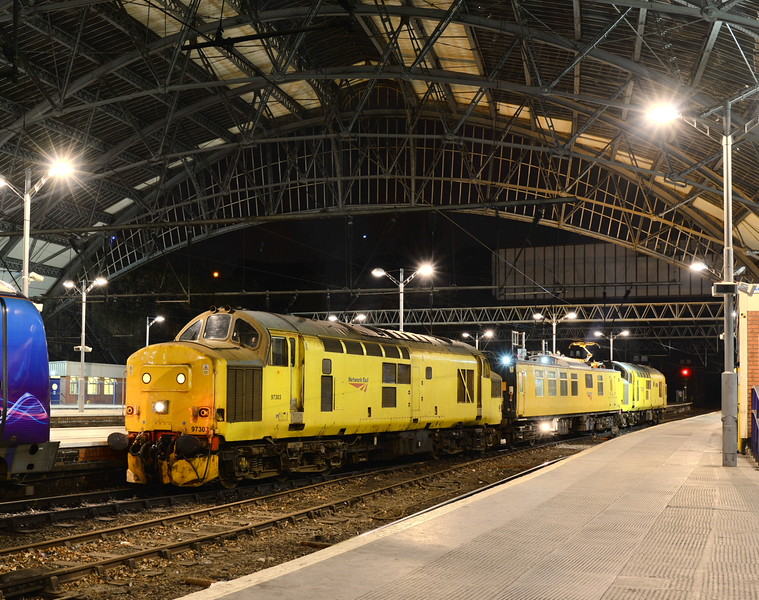 97303 and 97304 at Liverpool Lime Street on 23/02/15 with 1Q18 Crewe - Derby via Liverpool Lime Street, Lichfield and Wichnor. <br /> Published in Railways Illustrated May 2015.