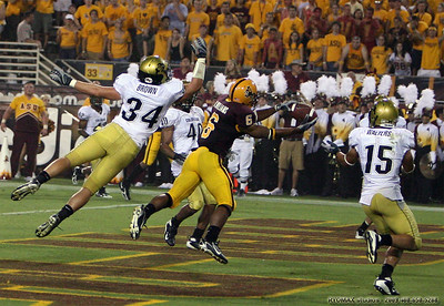 Sun Devils wide receiver Kyle Williams' leaping touchdown grab gave ASU a 19-14 lead into halftime en route to the Devils 33-14 win over the Big 12's Colorado Buffaloes Saturday, September 8, 2007. ASU Stadium ASU vs. CU - published Foothill Focus print and web.